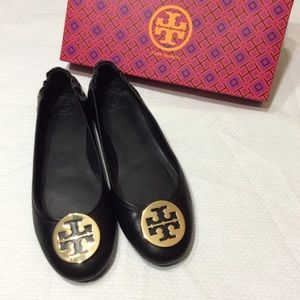 Tory Burch Black Ballet Gold Logo Flats Sz 10.5